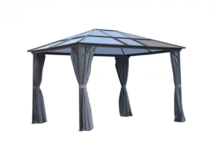 Pergola TENERIFE aluminium 3x3,6m - moustiquaire + rideaux en option