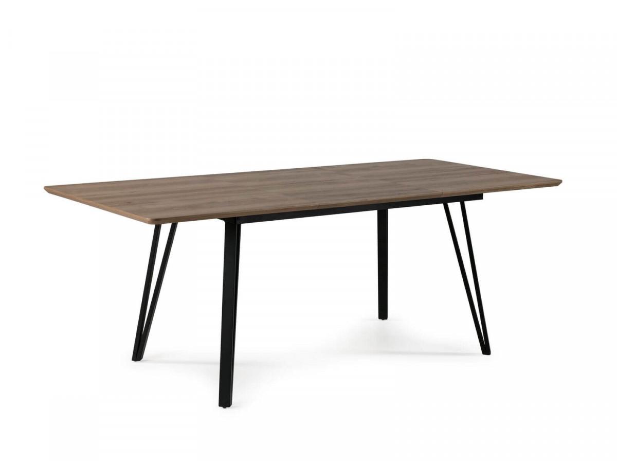 Table extensible 140 à 200 cm BOGOTA Couleur bois Chêne rustique et Noir