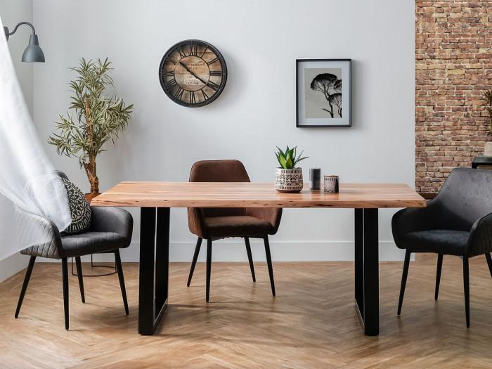 Table AWA Bois acacia massif et pieds carrés métal noir