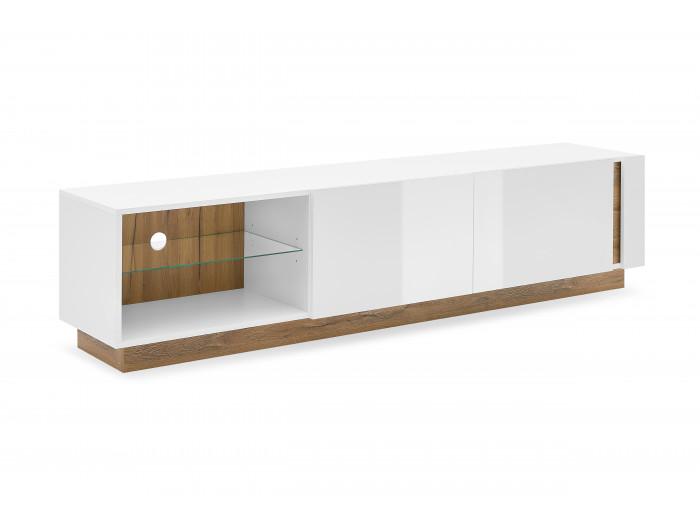 Meuble TV 188 cm ARCOMA Blanc brillant et Chêne