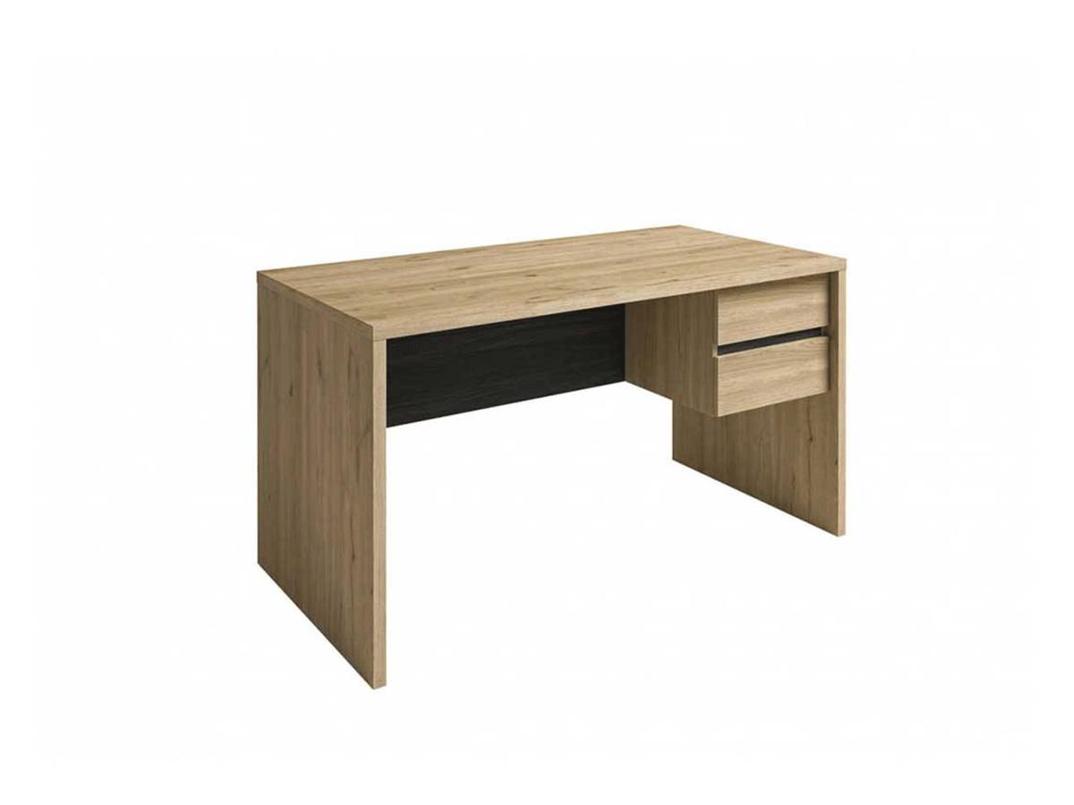Bureau avec 2 tiroirs ROMY imitation chêne et noir