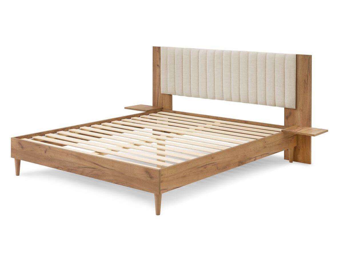 Structure de lit 160x190 cm SELENA avec lattes massives pieds en bois naturel