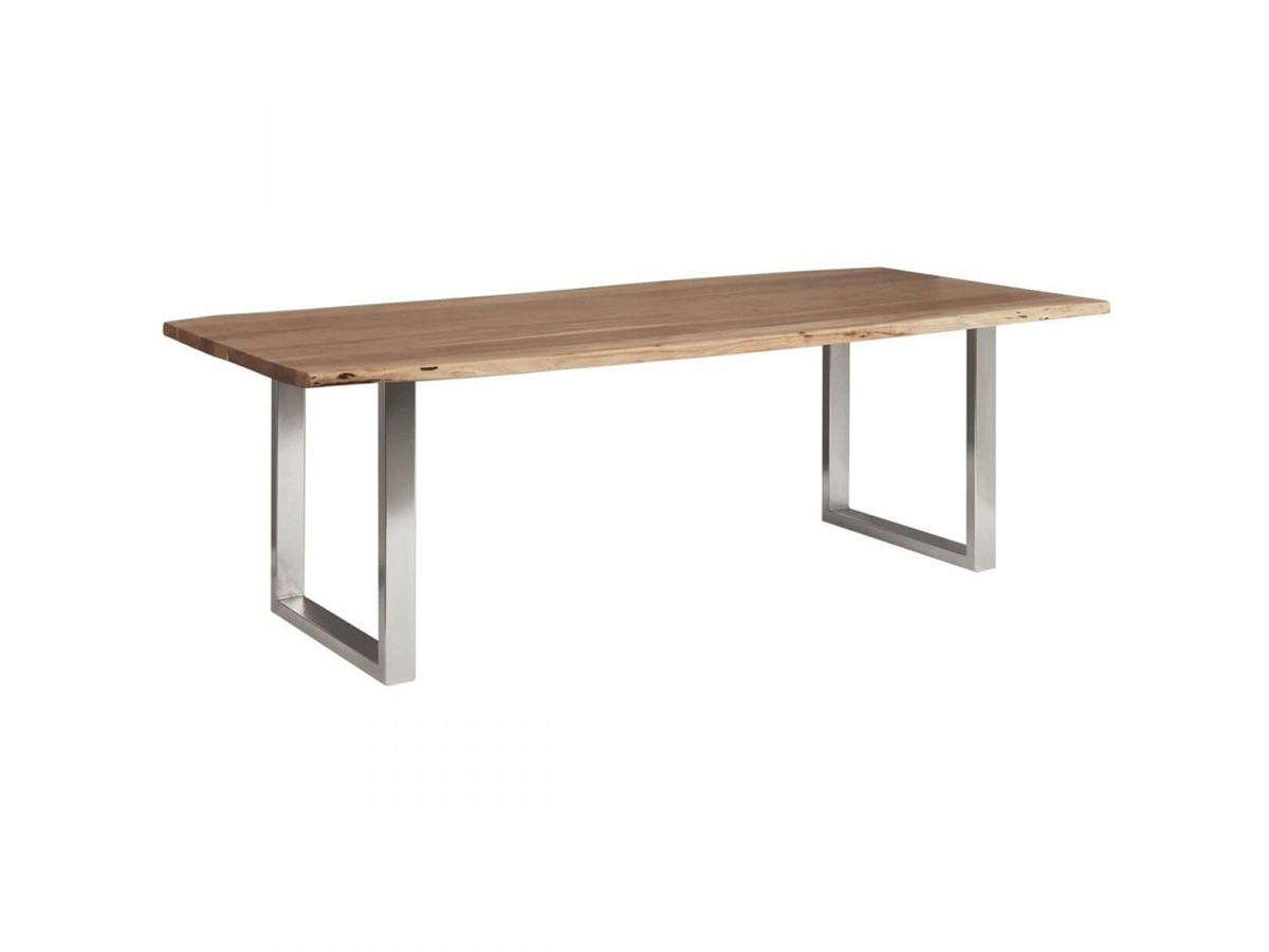 Table AWA Bois Acacia massif et pieds carrés métal chromé