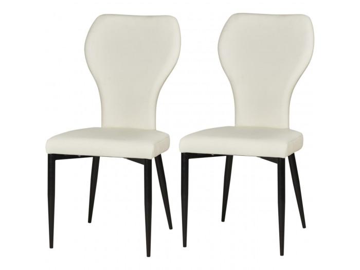 Lot de 2 chaises de séjour en cuir HARLEY Blanc