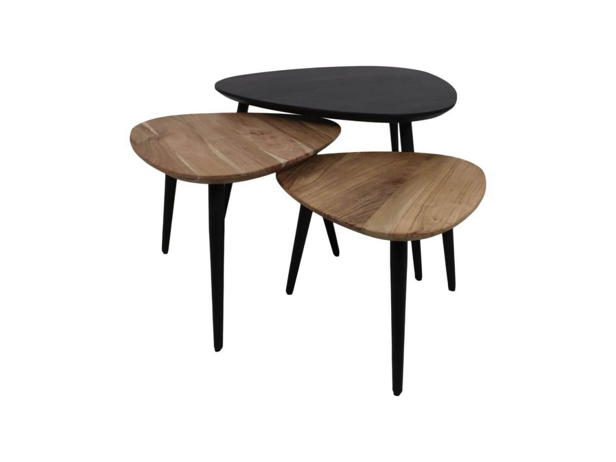 Table basse gigogne JULIETTE 3 tables Bois d'acacia