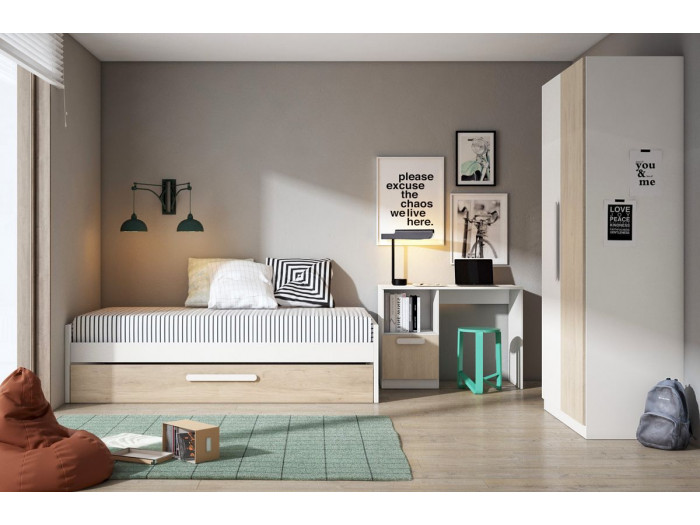 Lit avec un tiroir CANDIE chêne et blanc 90x190 cm