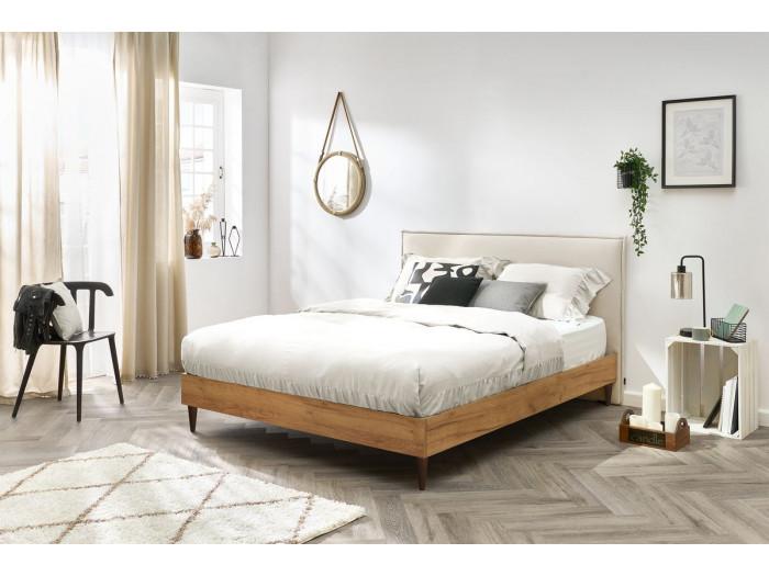 Structure de lit 180x200 cm CARA avec lattes massives pieds en bois wengé