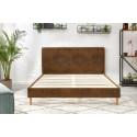 Structure de lit 180x190 cm EZRA avec lattes massives pieds en bois naturel