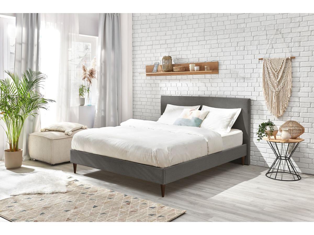 Structure de lit ANJA avec lattes massives pieds en bois wengé 160 x 200 cm
