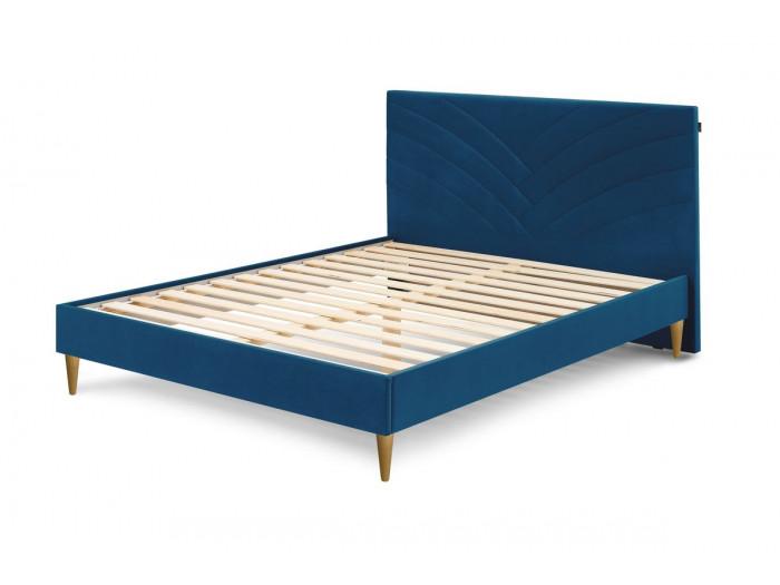 Structure de lit VELVET avec lattes massives pieds en bois naturel 180 x 200 cm