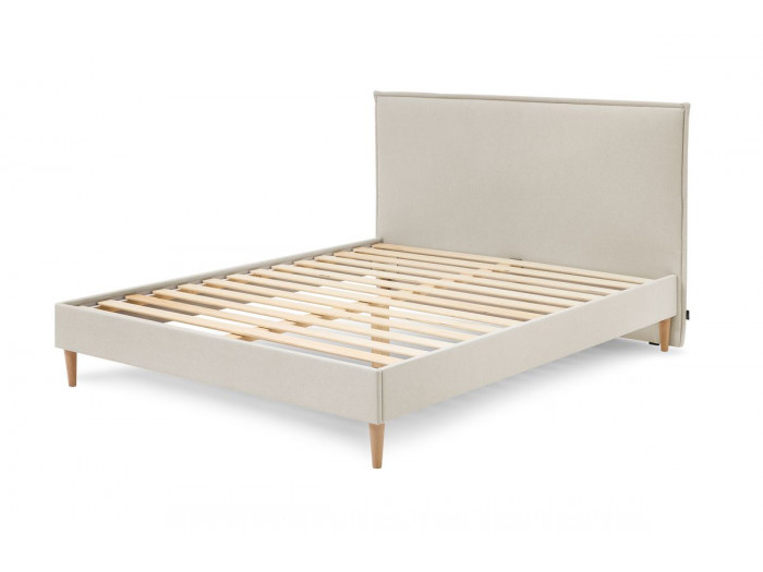 Structure de lit SARY avec lattes massives pieds bois naturel 180 x 200 cm