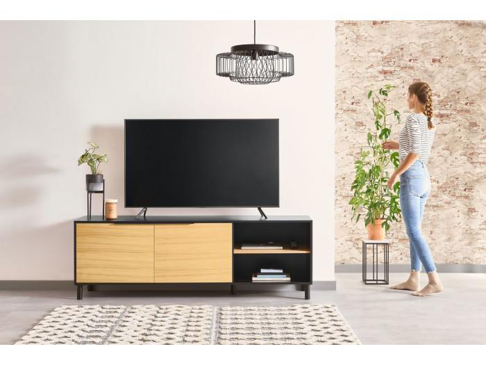 Meuble TV 180 cm ELYA placage chêne