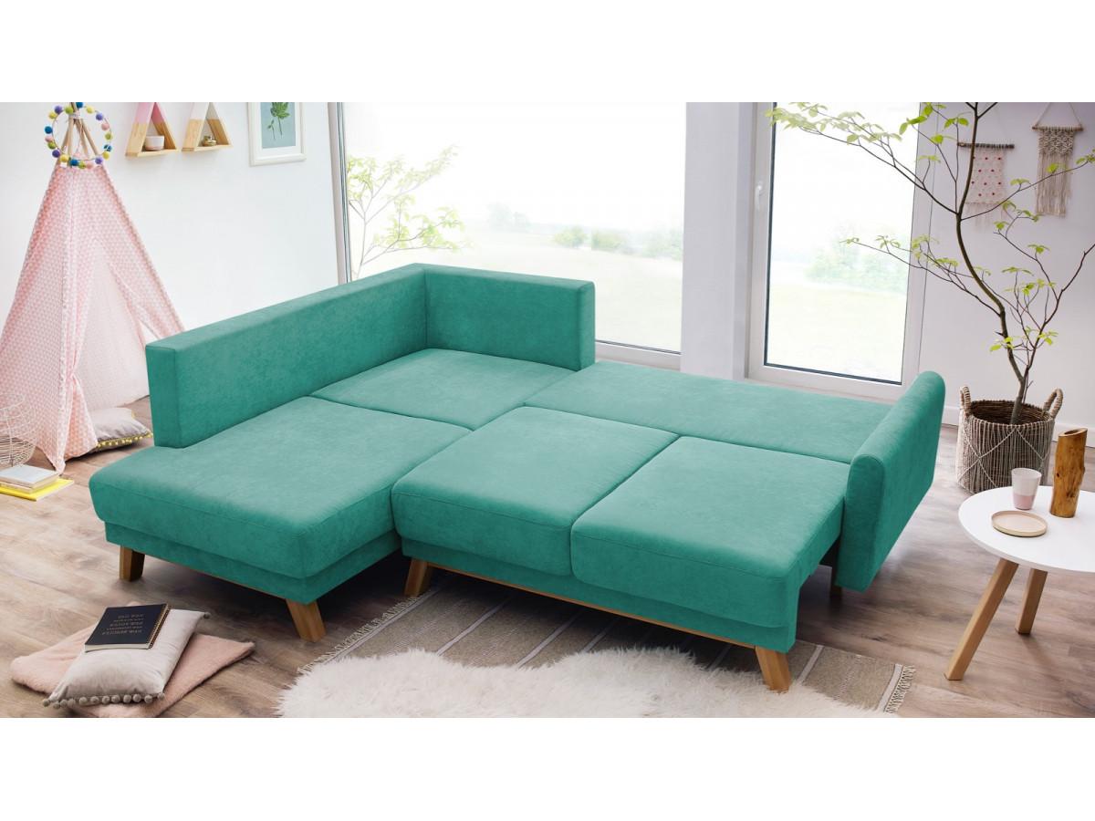 Canapé d'angle L convertible coffre BALIO
