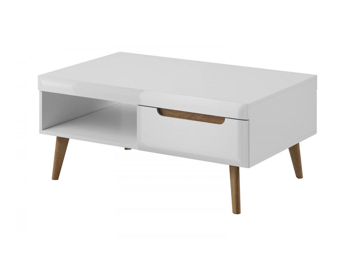 Table basse NORDI Chêne et Blanc brillant