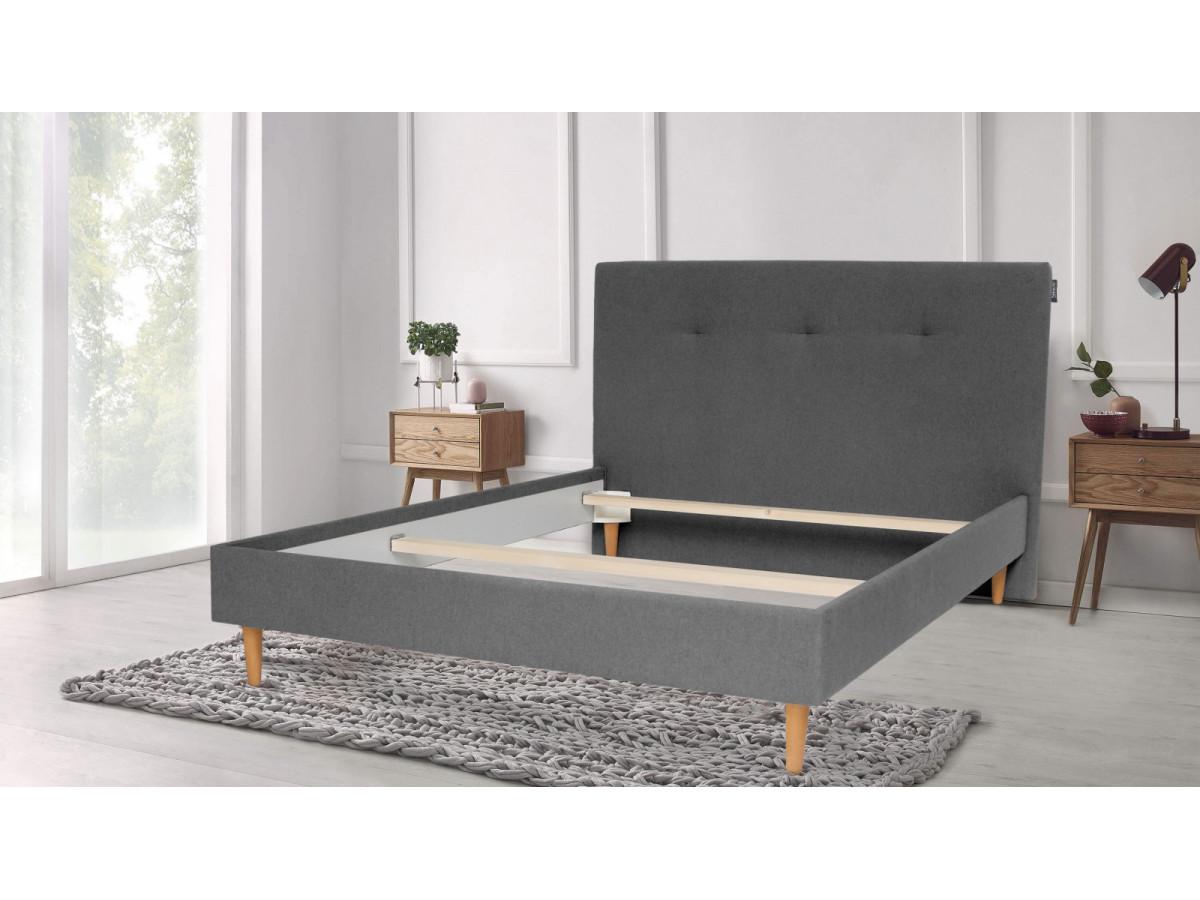 Structure de lit TORY pieds en bois naturel 160 x 200 cm