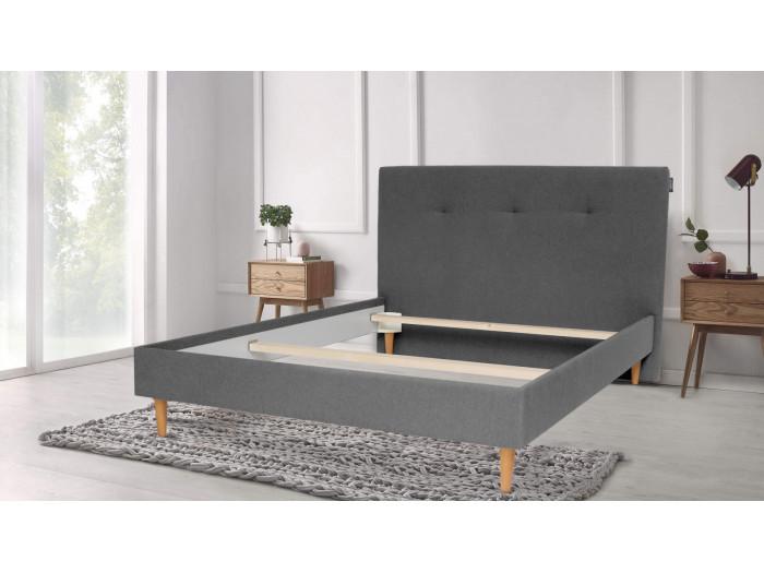 Structure de lit TORY pieds en bois naturel 180 x 200 cm