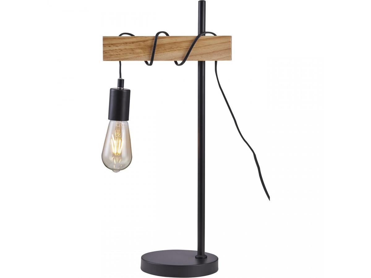 Lampe BRAGA noir et bois