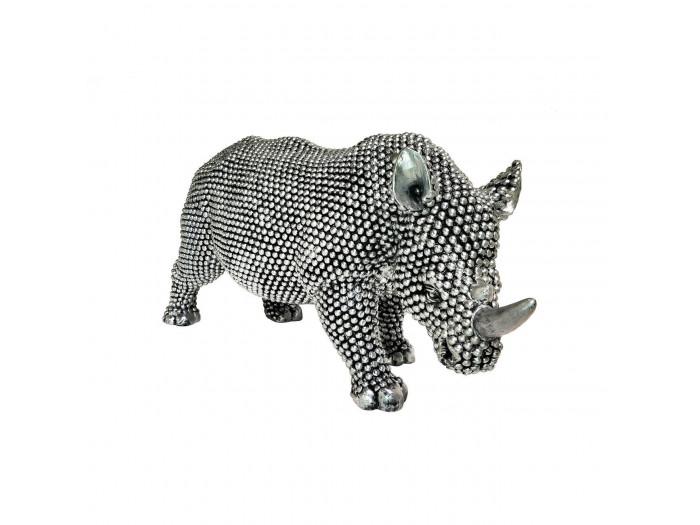 Statue elegante de rhinoceros en polyresine Rino Argent5