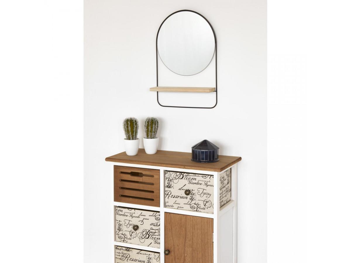 Miroir et tendance de forme ronde en metal avec son etagere en bois ENS2