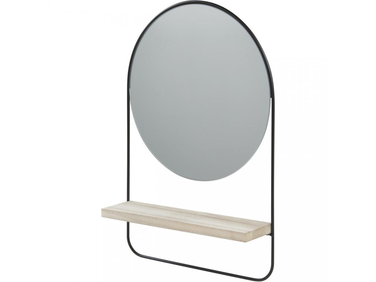 Miroir et tendance de forme ronde en metal avec son etagere en bois ENS3