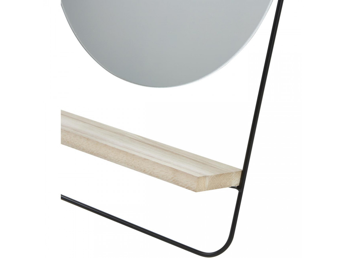 Miroir et tendance de forme ronde en metal avec son etagere en bois ENS5
