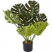 Plante artificielle en polyethylène a 7 feuilles et son pot noir Olla1