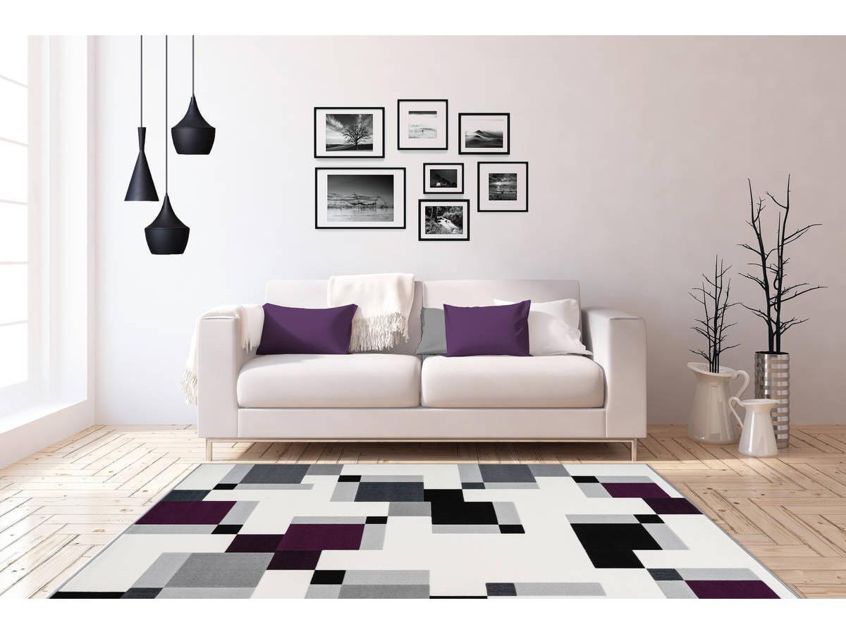 Tapis LUCIO Ivoire / Violet 120cm x 170cm1