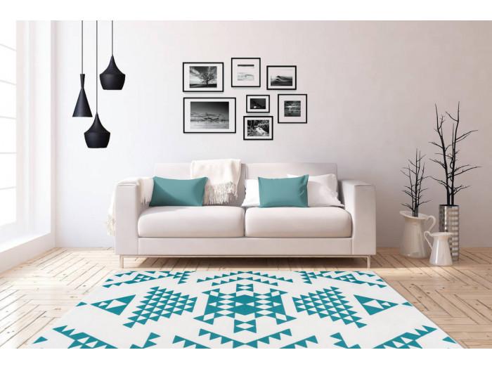 Tapis ZIKA Blanc/ Turquoise 80cm x 150cm1
