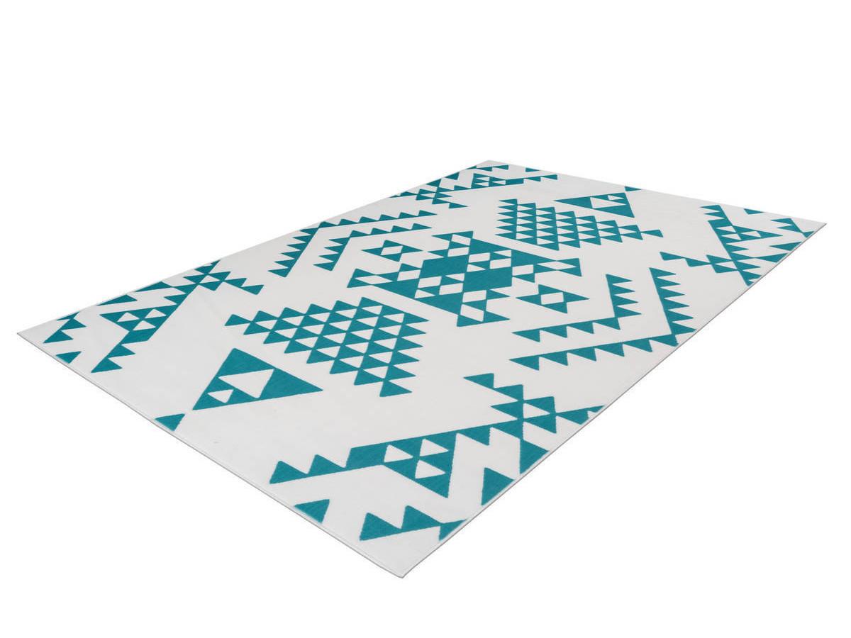 Tapis ZIKA Blanc/ Turquoise 80cm x 150cm