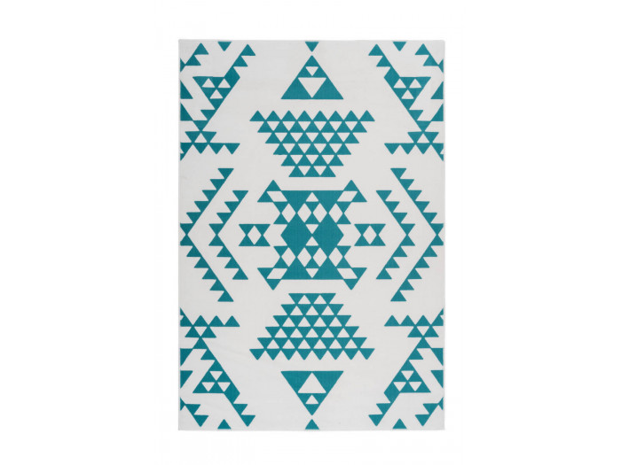 Tapis ZIKA Blanc/ Turquoise 80cm x 150cm3