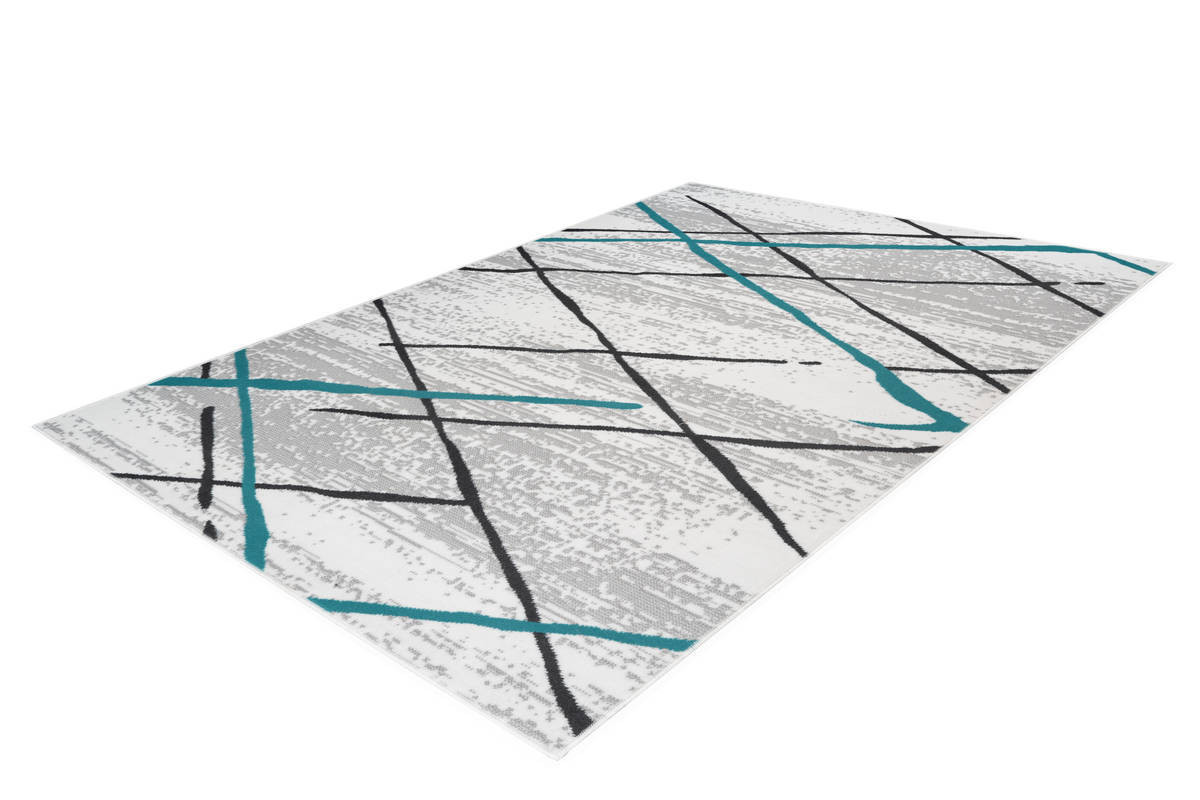 Tapis KRISTA Blanc/ Gris / Turquoise 160cm x 230cm2