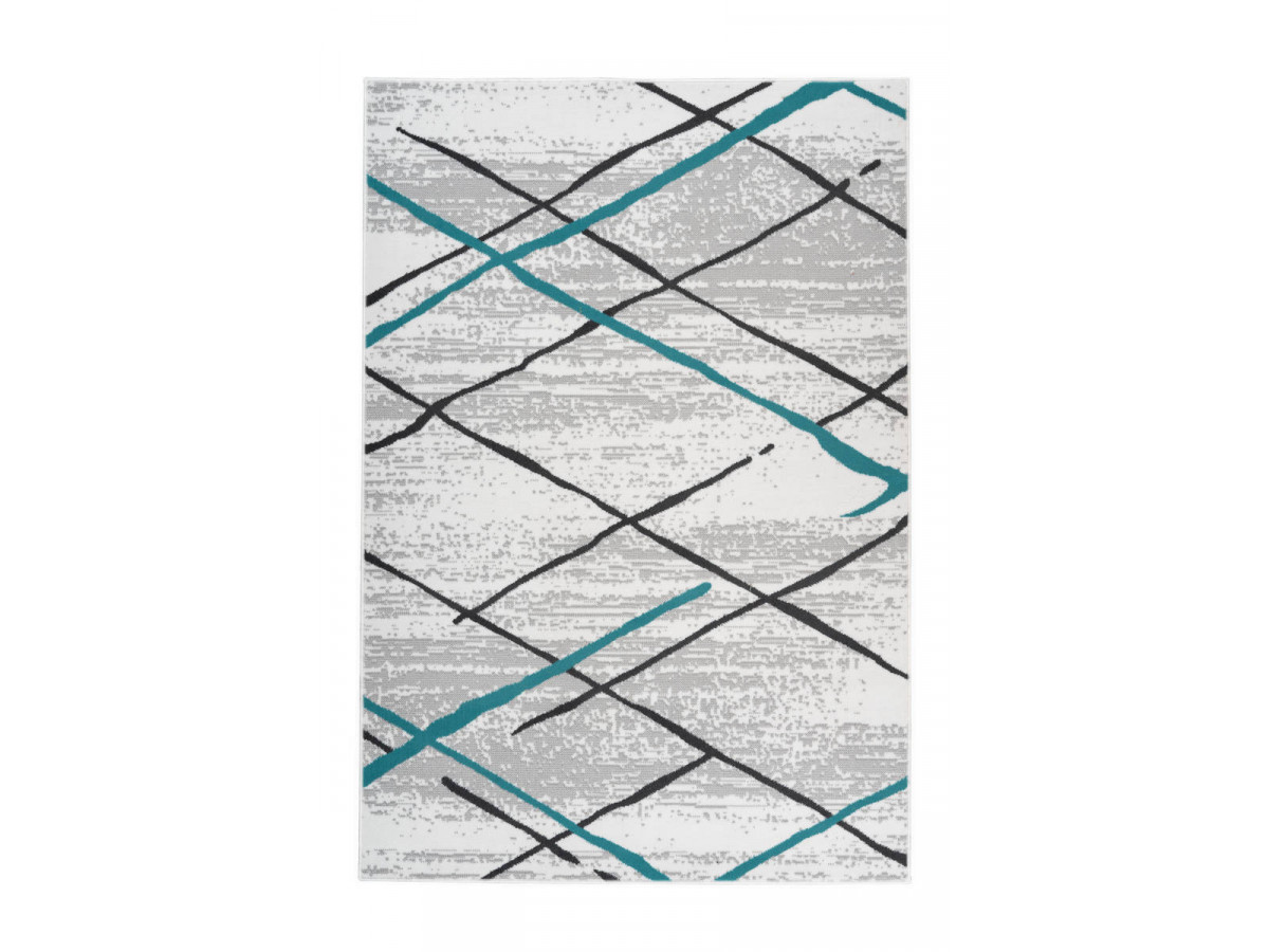 Tapis KRISTA Blanc/ Gris / Turquoise 160cm x 230cm3