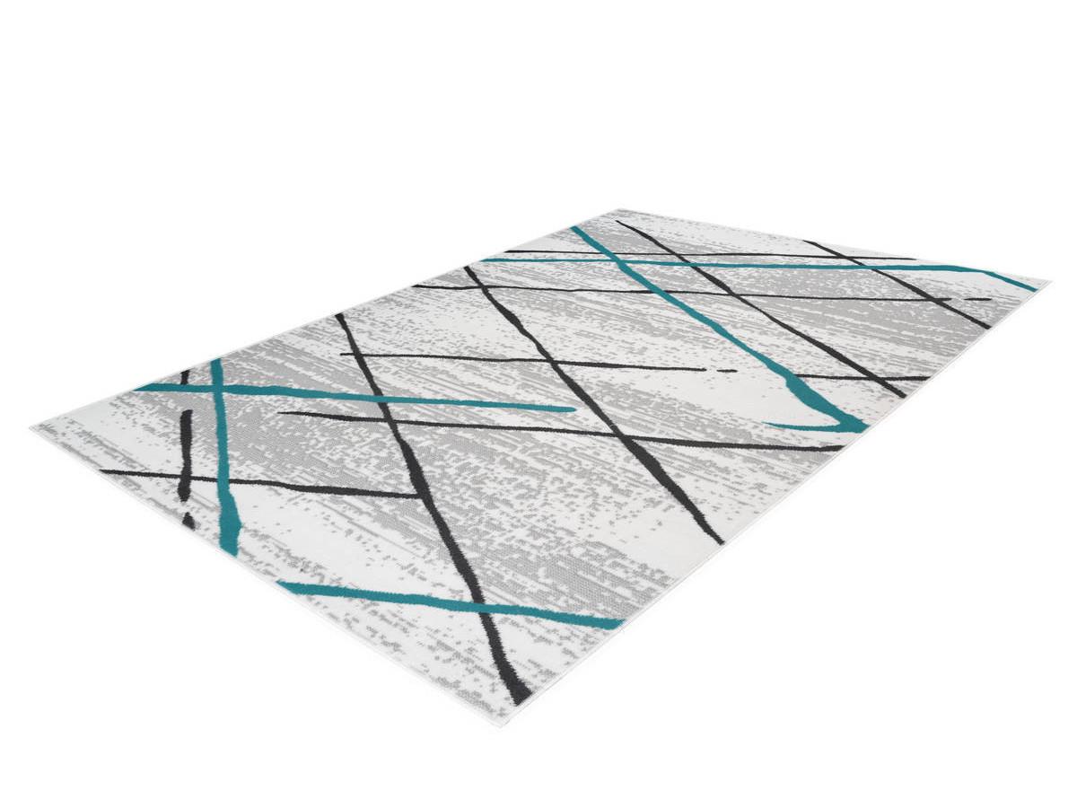 Tapis KRISTA Blanc/ Gris / Turquoise 80cm x 150cm