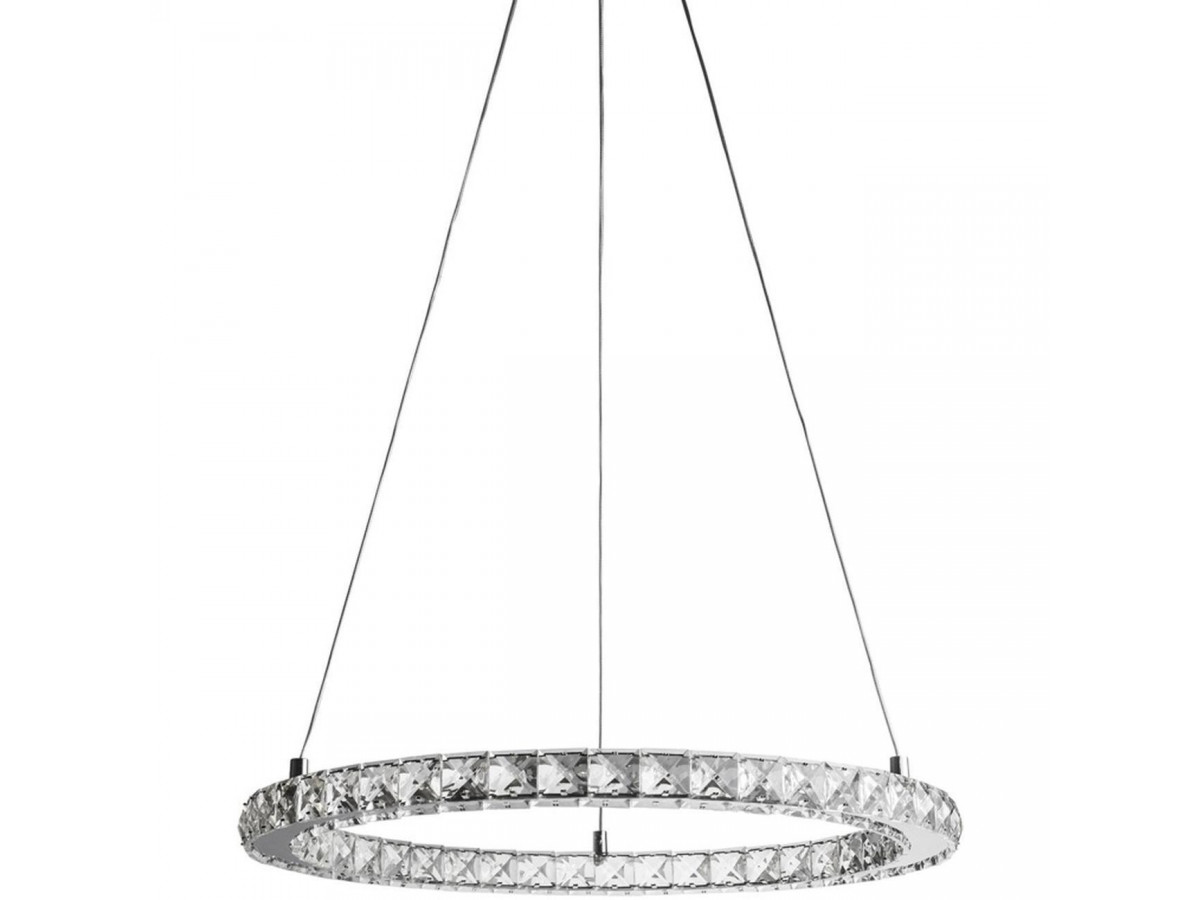 Suspension ronde on strass avec LED Rondo Argent