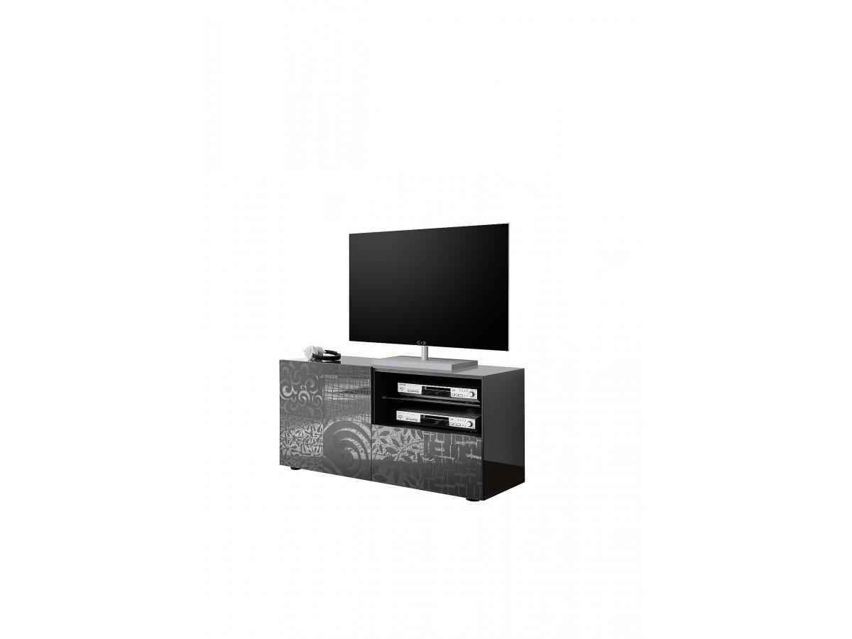 Meuble Tv 121cm Petit 1 Porte 1 Tiroir Serle Gris Laque Brillant Subleem