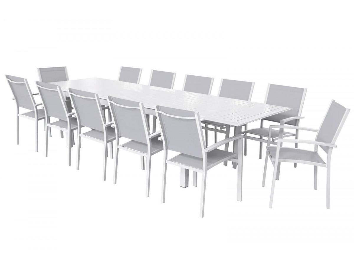 Ensemble table extensible + 12 fauteuils blanc/gris clair Panao