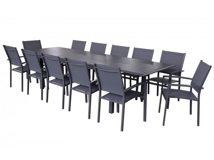 Ensemble table extensible avec rallonge papillon + 12 fauteuils anthracite PANAO