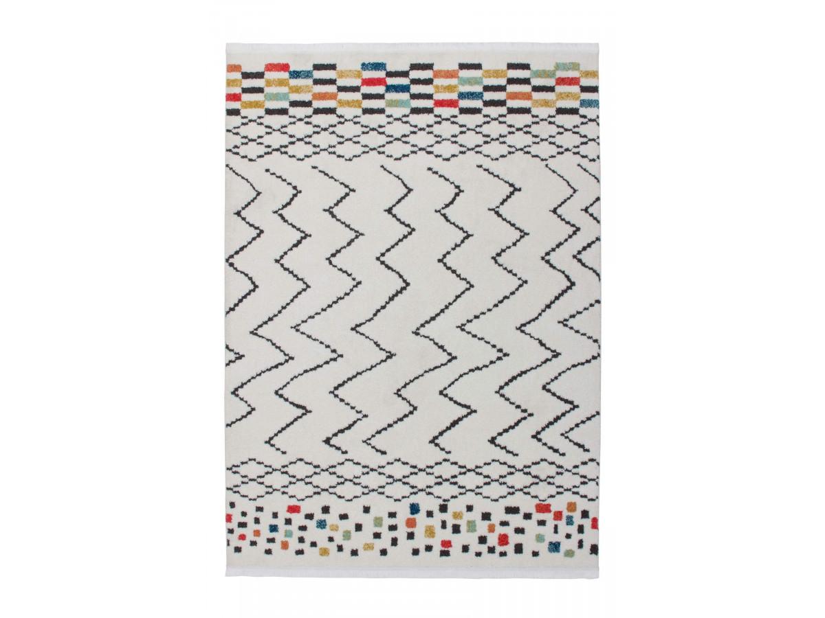 Tapis HIMBA Blanc / Noir / Multicolor 80cm x 150cm