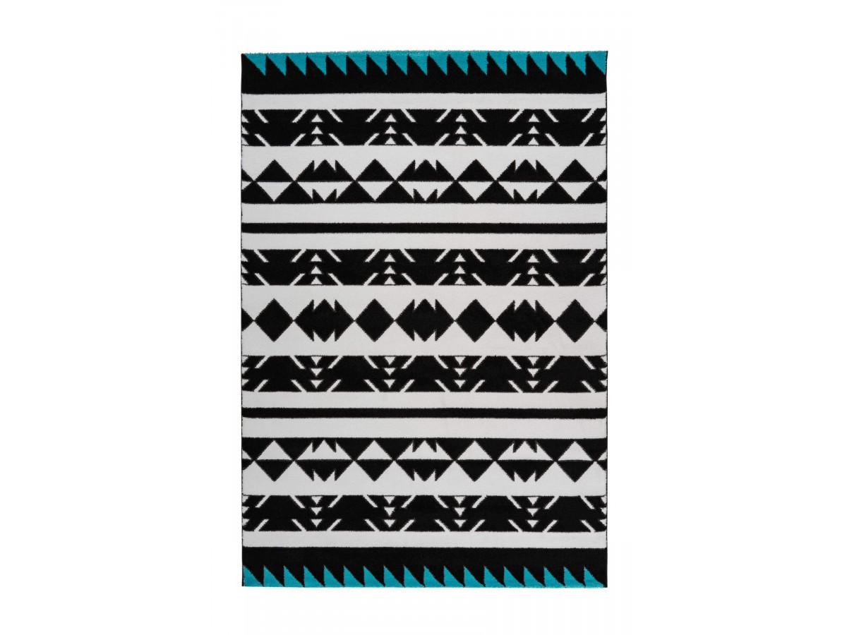 Tapis OMAN Noir / Blanc / Turquoise 80cm x 150cm