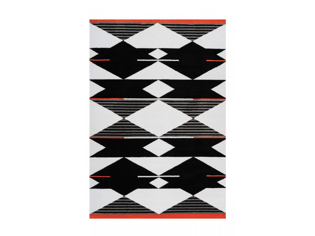 Tapis OMAN Noir / Blanc / Rouge 200cm x 290cm