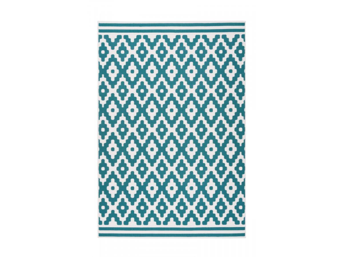 Tapis HUNDIE Blanc / Turquoise 160cm x 230cm