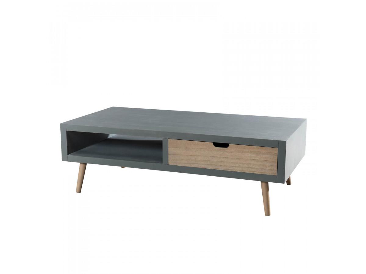 Table basse 1 niche 2 tiroirs MAGU
