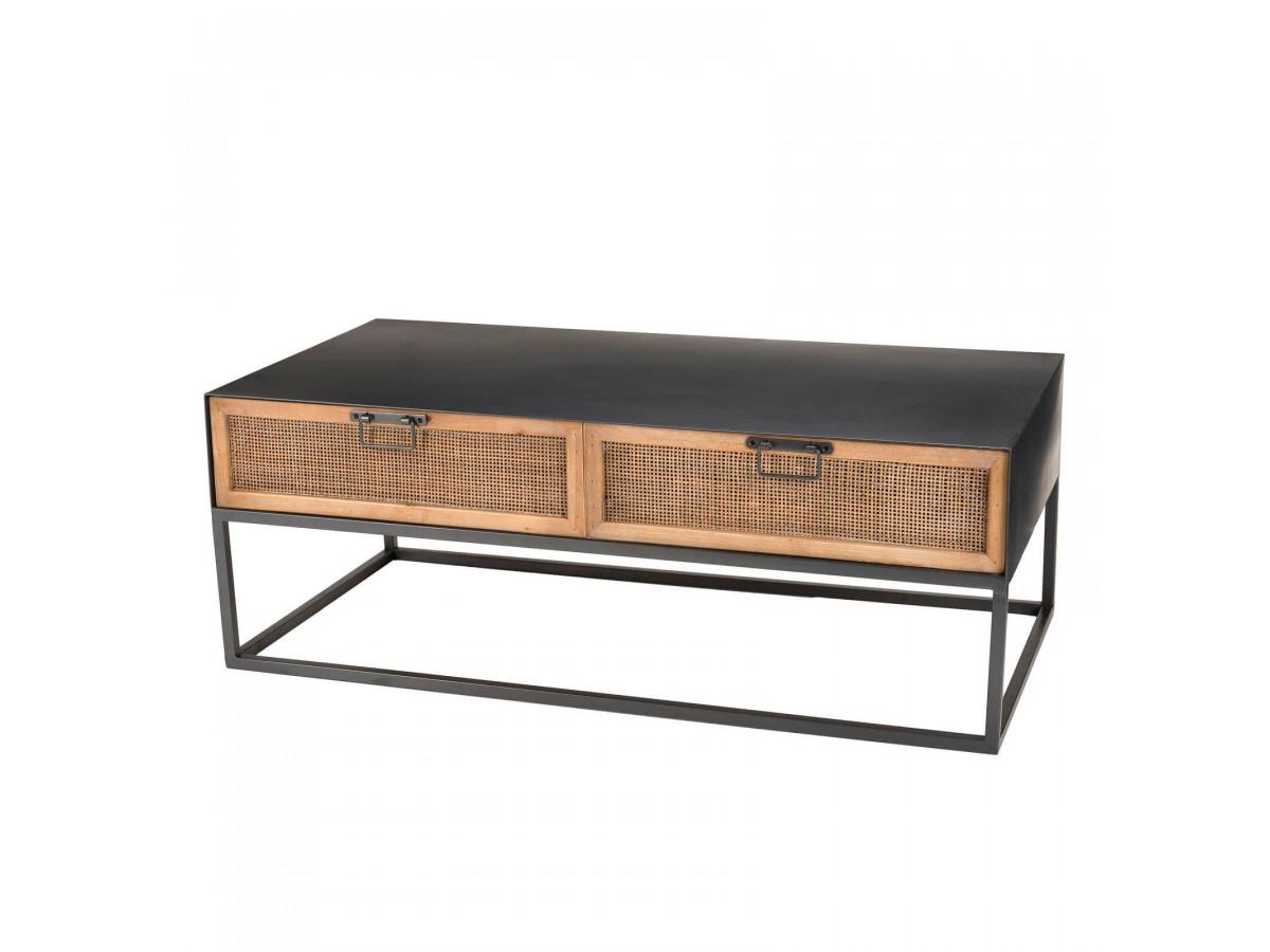 Table basse métal 2 tiroirs cannage SATRA