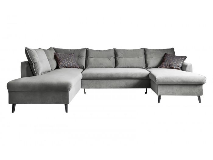 Canapé d'angle panoramique XXL antitache convertible coffre BERGAMO