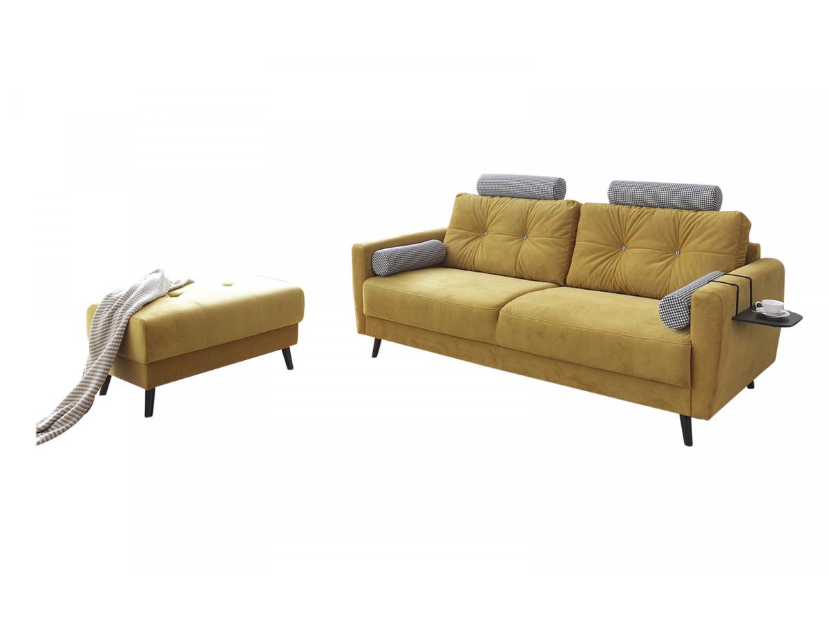 Canapé droit fixe édition limitée velours avec pouf SCANDI