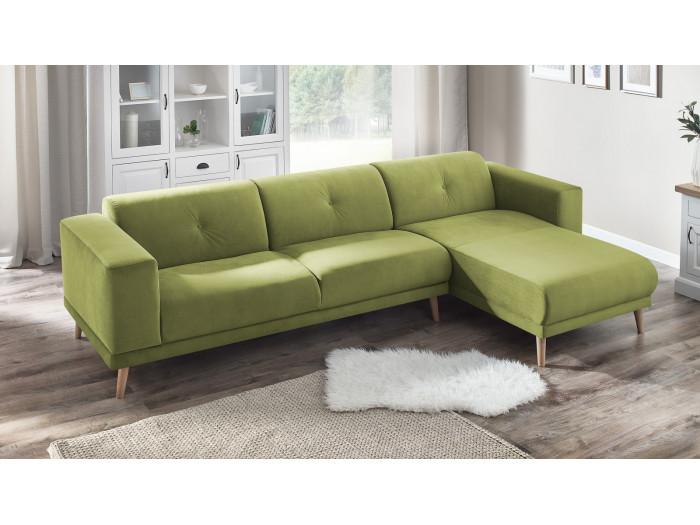 Canapé d'angle fixe LUNA avec pouf