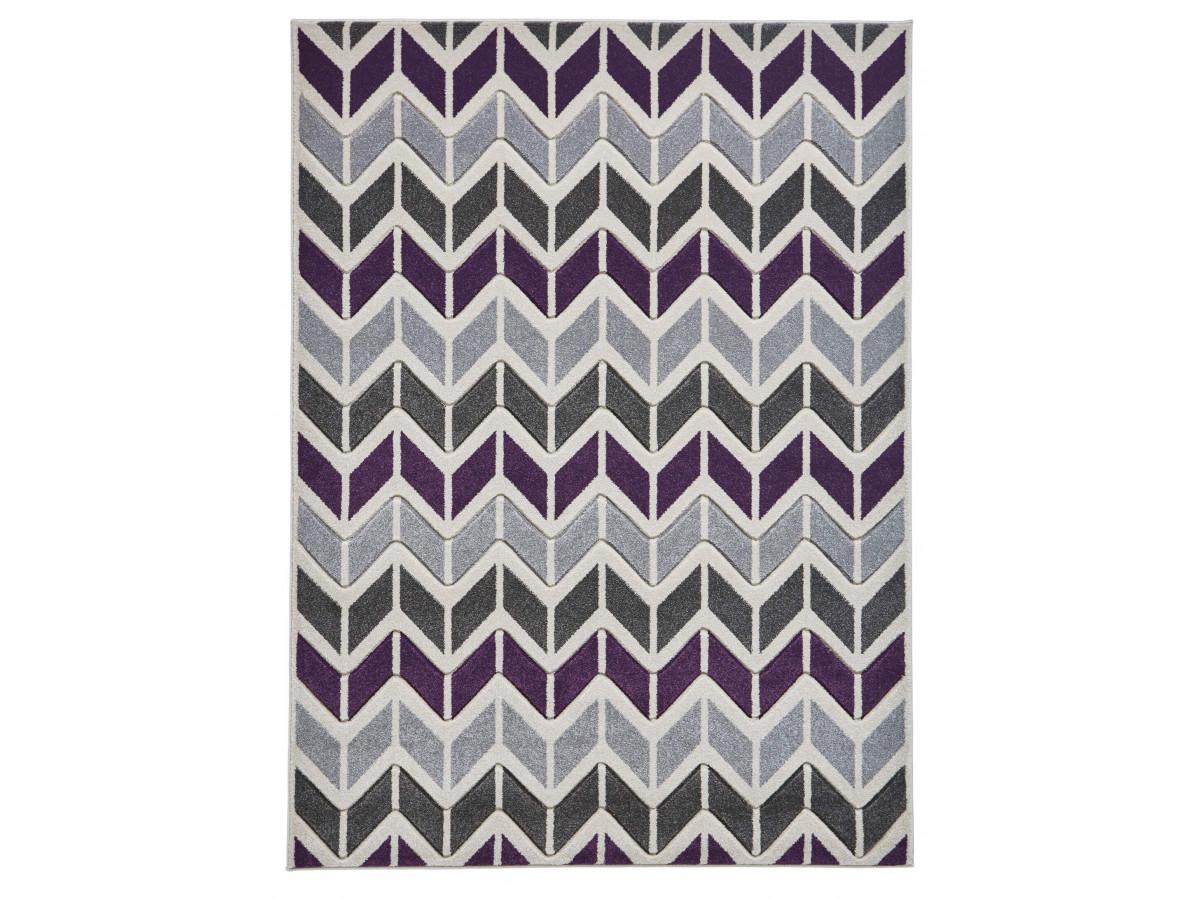Tapis QUIM 3 Gris / Violet 160 x 220