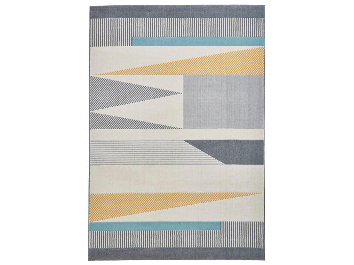 Tapis TORONTO Gris / Bleu / Jaune 120 x 170