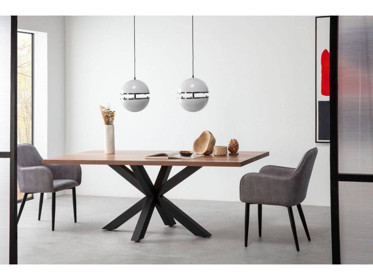Table à manger fixe NOA noyer / noir 200 x 100
