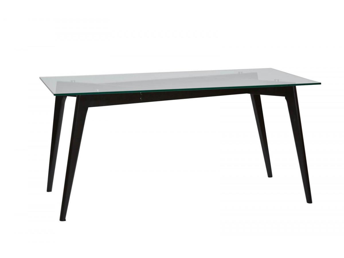 Table 160 cm ZELI Verre et Pieds bois Frêne massif Noir